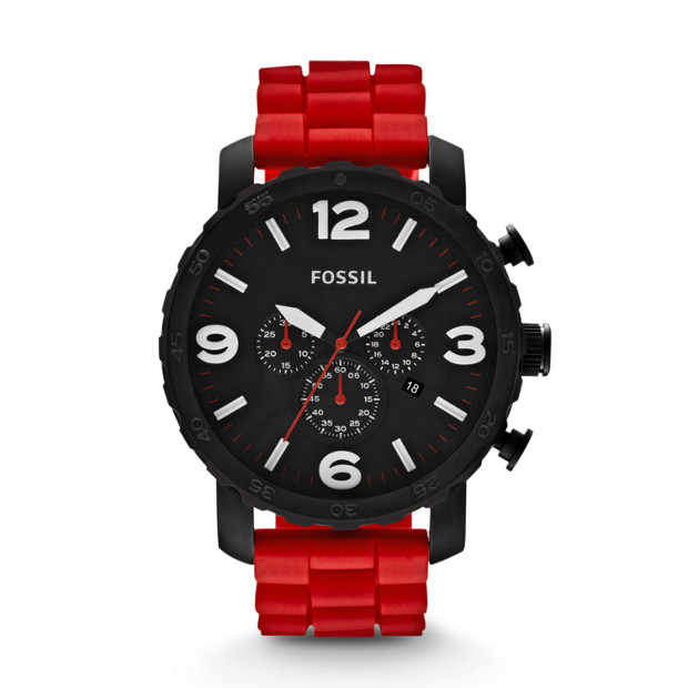 Nate Chronograph Silicone Watch - Red