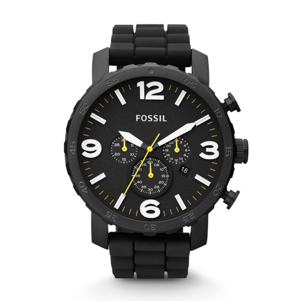 Nate Chronograph Black Silicone Watch