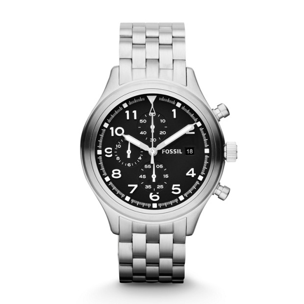 Compass Chronograph Stainless Steel Watch