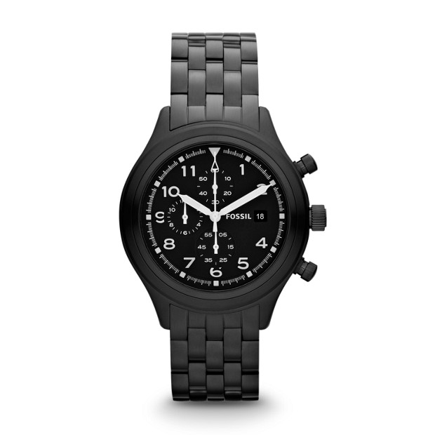 Compass Chronograph Stainless Steel Watch - Black