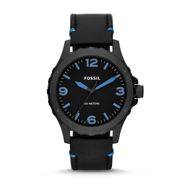Nate Three-Hand Leather Watch - Black