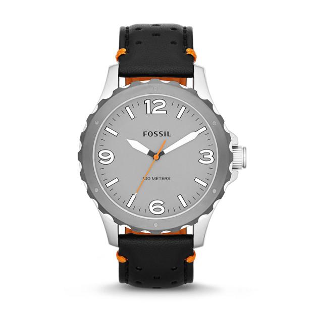 Nate Three-Hand Leather Watch - Black and Orange