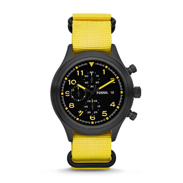 Compass Chronograph Nylon Yellow Watch