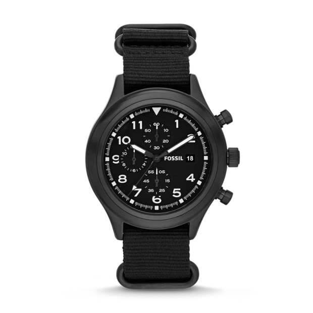 Compass Chronograph Nylon Black Watch