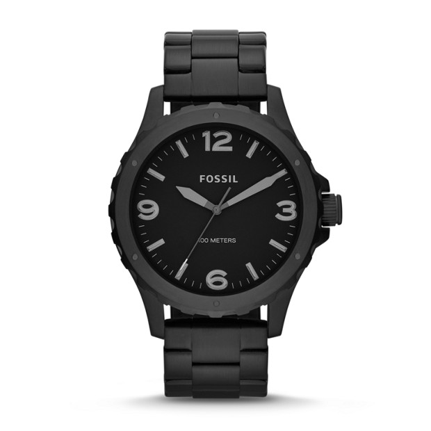 Nate Three-Hand Stainless Steel Watch - Black