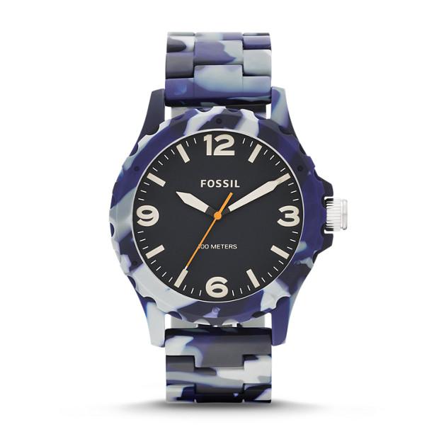 Nate Three-Hand Resin Watch - Blue Camo