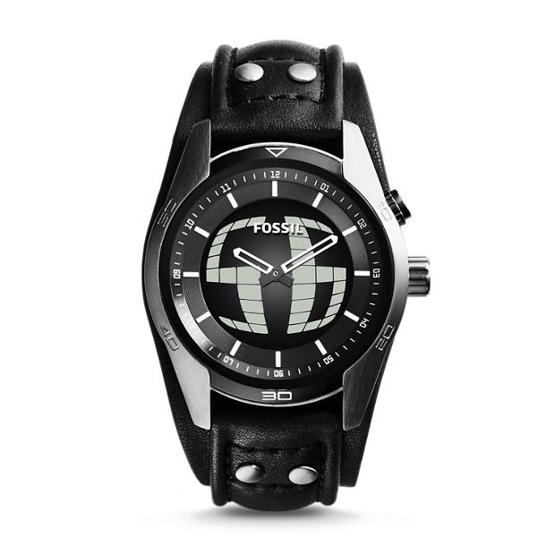 Coachman Digital Black Leather Watch
