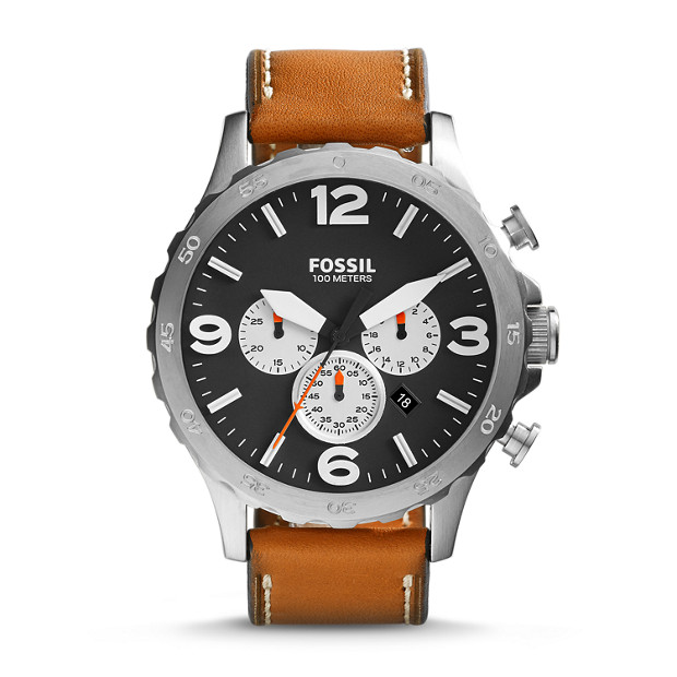nate chronograph tan leather watch fossil. Black Bedroom Furniture Sets. Home Design Ideas