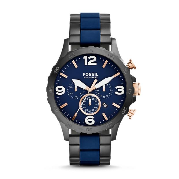 Montre Nate chronographe en acier inoxydable et silicone - Noir et bleu
