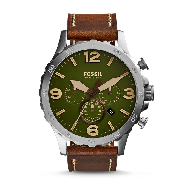 Nate Chronograph Brown Leather Watch
