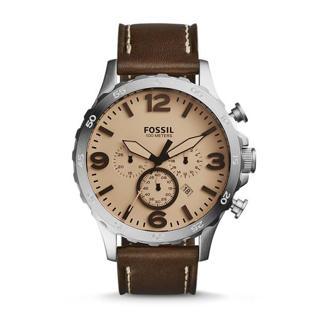 Nate Chronograph Dark Brown Leather Watch