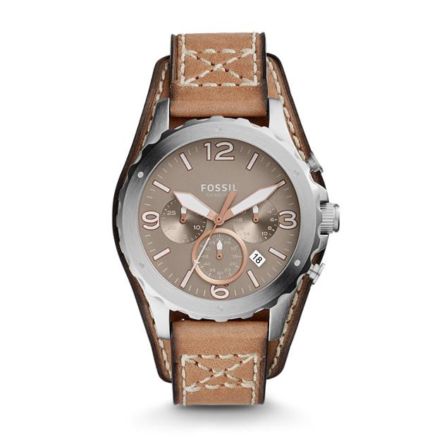 Montre Nate chronographe en cuir brun clair