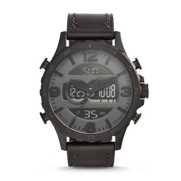 Nate Analog-Digital Black Leather Watch