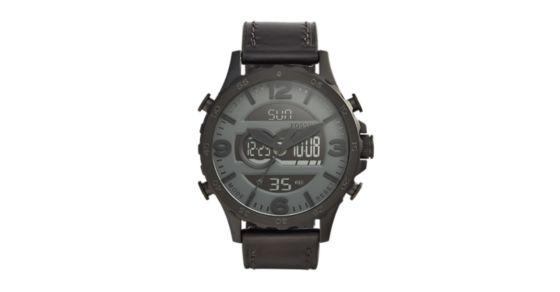 Nate Og Digital Black Leather Watch