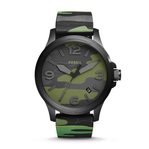 Nate Three-Hand Date Camo Silicone Watch