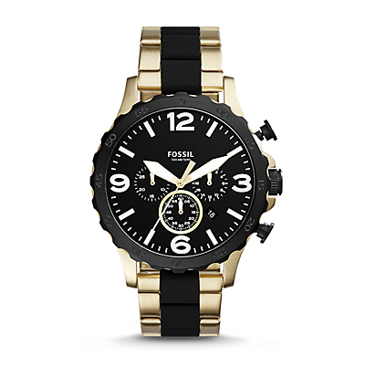 Nate 50mm Chronograph Black Silicone and Gold-Tone Stainless Steel Watch