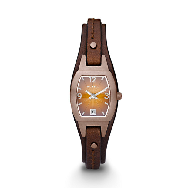 Marjorie Three Hand Cuff Leather Watch – Brown
