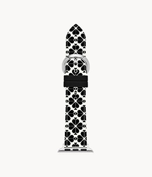 kate spade new york black and white spade flower silicone 38/40mm bands for Apple Watch®
