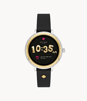 REFURBISHED kate spade new york touchscreen smartwatch scalloped black leather