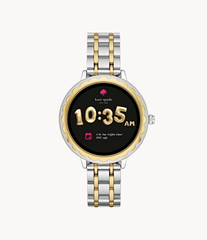 REFURBISHED kate spade new york touchscreen smartwatch scalloped two-tone stainless steel