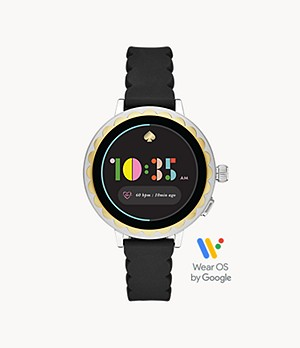 kate spade new york scallop smartwatch 2 black silicone