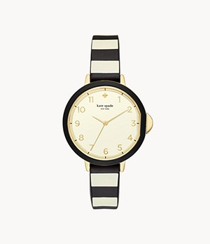 kate spade new york park row three-hand black and cream striped silicone watch