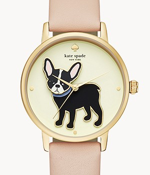 kate spade new york grand metro three-hand vachetta leather watch
