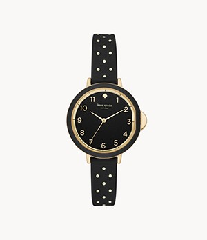 kate spade new york park row three-hand black and white dot silicone watch