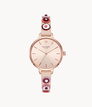 kate spade new york metro three-hand nude leather watch