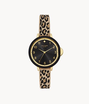 kate spade new york park row three-hand leopard print silicone watch
