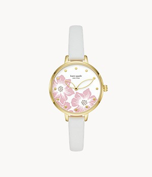 kate spade new york metro three-hand white leather watch