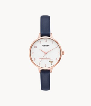 kate spade new york metro three-hand navy leather watch