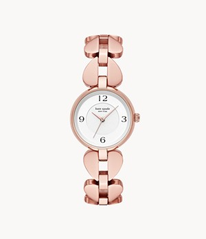 kate spade new york annadale three-hand rose gold-tone stainless steel bracelet watch