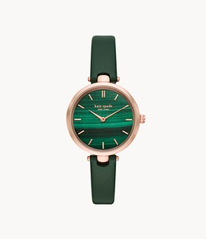 kate spade new york holland two-hand green leather watch
