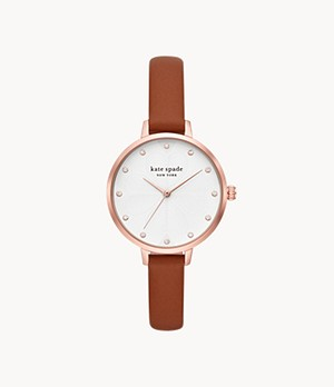 kate spade new york metro three-hand luggage leather watch