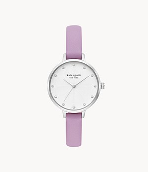 kate spade new york metro three-hand lilac leather watch