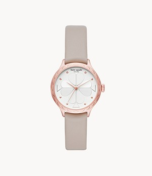 kate spade new york rosebank three-hand warm taupe leather watch