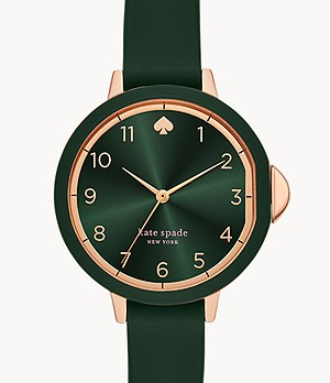 kate spade new york park row three-hand matte green silicone watch