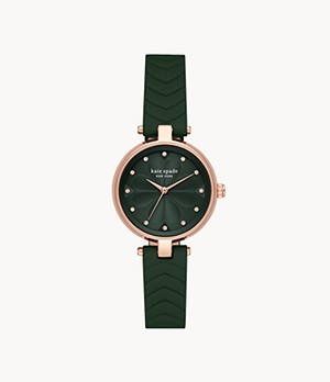 kate spade new york annadale three-hand matte green leather watch