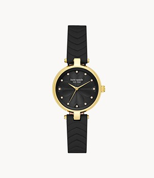 kate spade new york annadale three-hand matte black leather watch