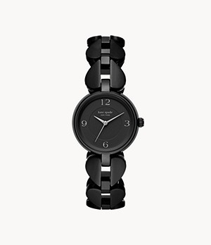 kate spade new york annadale three-hand black stainless steel watch
