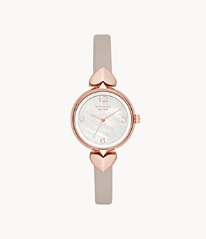kate spade new york hollis three-hand matte grey leather watch