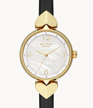kate spade new york hollis three-hand matte black leather watch