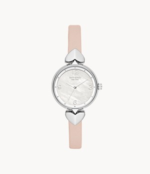 kate spade new york hollis three-hand matte nude leather watch