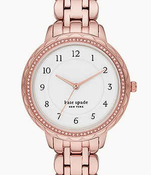 kate spade new york morningside scallop three-hand rose gold-tone stainless steel watch
