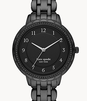 kate spade new york morningside scallop three-hand black stainless steel watch