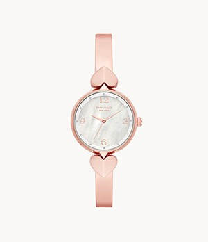kate spade new york hollis three-hand rose gold-tone stainless steel bangle watch