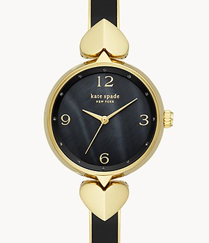 kate spade new york hollis three-hand black enamel gold-tone stainless steel bangle watch