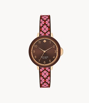 kate spade new york park row three-hand flower-print silicone watch