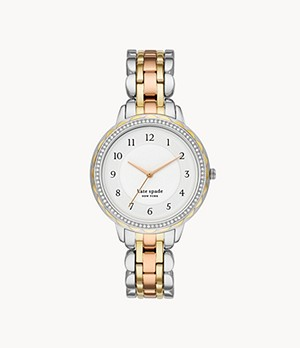 kate spade new york morningside three-hand tri-tone stainless steel watch